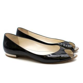 Chanel Black Patent Leather Flat Peep-Toe Pumps