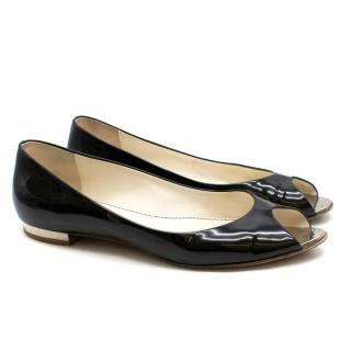 Chanel Black Patent Leather Flat Peep-Toe Pumps