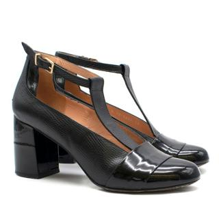 Robert Clergerie Black Patent & Lizard Embossed Leather T-Bar Pumps
