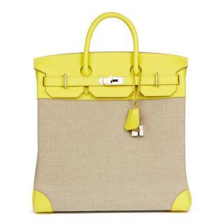 Hermes Leather & Ficelle Toile Lime Evercolour Birkin Bag 40cm