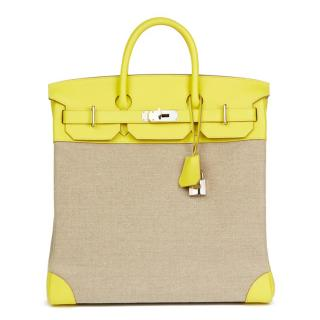 Hermes Leather & Ficelle Toile Lime Evercolour Birkin Bag 40cm