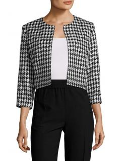 Karl Lagerfeld houndstooth cropped open-front blazer