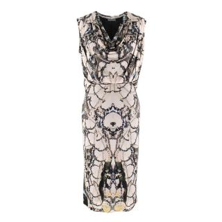 Alexander McQueen Cowl-Neck Butterfly-Print Midi Dress