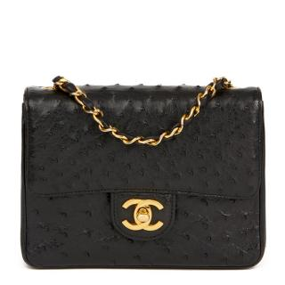 Chanel Vintage Black Ostrich-Leather Mini Cross-Body Bag