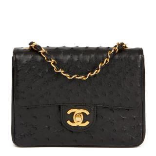 Chanel Vintage Black Ostrich-Leather Mini Cross-Body Bag