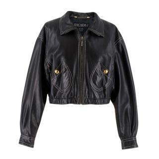 Escada Studded Leather Bomber Jacket