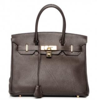 Hermes Terre Fjord Leather 30cm Birkin Bag