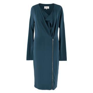 Maison Martin Margiela Blue Asymmetric Zip Dress