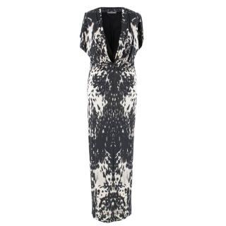 Aexander McQueen Leopard Print Twist Midi Dress