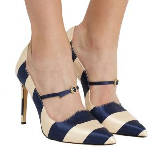 Bionda Castana Renee Striped-Satin Point-Toe Pumps