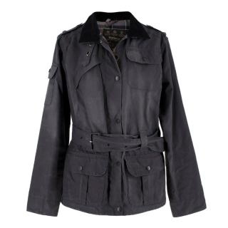 Barbour Grey Belted Waxed Jacket