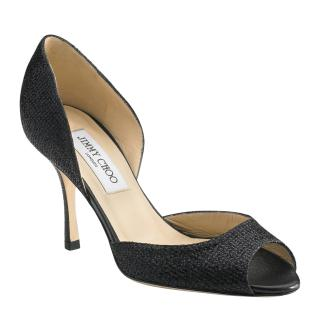 Jimmy Choo Black Logan D'orsay Glitter Peep-Toe Pumps