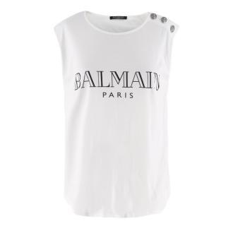 Balmain White Logo Vest Top