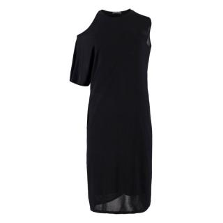 Alexander McQueen Black Cold Shoulder Asymmetric Midi Dress