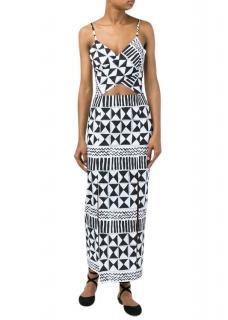 Tata Naka Rebecca Geometric Print Cut-Out Dress
