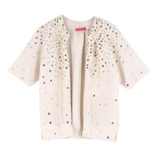 Manoush Cream Wool-Blend Embellished Zipped Cardigan
