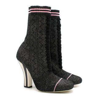 9ad53d36d336 Fendi Metallic Stretch-knit Sock Boots