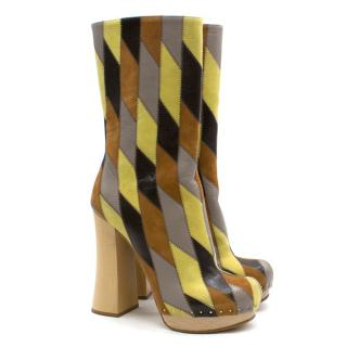 f50f080b4c62 Prada Brown and Yellow Leather Platform Boots