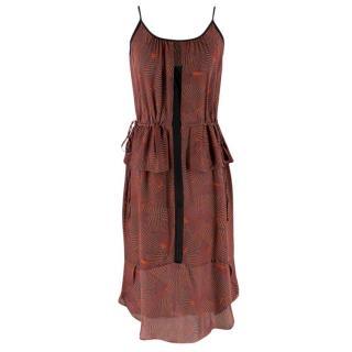 A.L.C. Red Abstract-Print Peplum-Waist Dress
