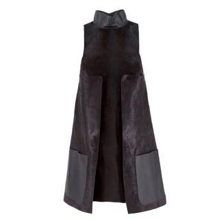 Fendi Pony Hair & Leather A-Line Dress