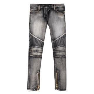 Balmain Grey Stonewash Ribbed Biker Jeans