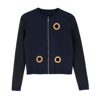 Louis Vuitton Wool Blend Navy Eyelet Zip Up Cardigan