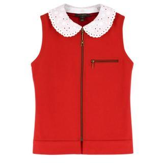 Louis Vuitton Detachable Monogram Crochet Collar Zippered Vest