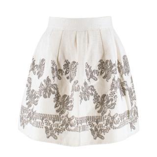 Ermanno Scervino Cream Embellished Skirt