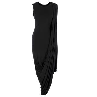 Alexander McQueen Black Draped Asymmetric Dress