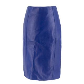 Versace Cobalt Blue Leather Pencil Skirt