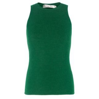Christian Dior Green Cashmere-blend Tank Top