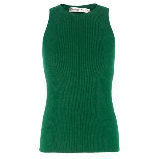Christian Dior Green Cashmere-blend Tank Top