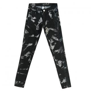 Stephanie Vaille charcoal & white abstract slim fit stretch jeans