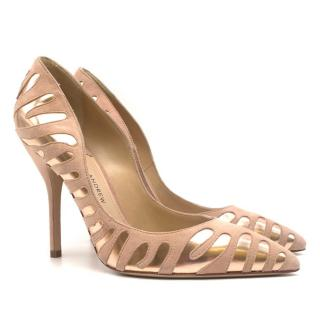 Paul Andrew Suede & Leather Point-Toe Blush Pumps