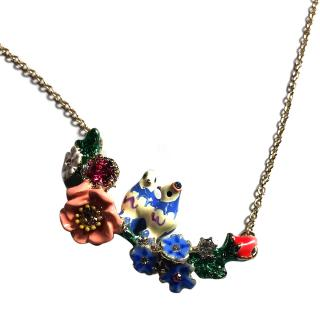 Les Nereides Vintage Bird & Flower Enamel Necklace