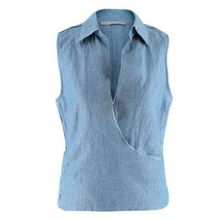Ermanno Scervino Raw-Edge Sleeveless Wrap Shirt