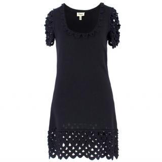 Temperley London Black Crochet-Panel Silk-Knit Mini Dress