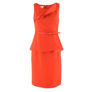 Oscar De La Renta Silk & Wool-Blend Red Belted Dress