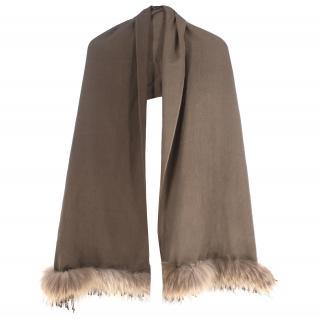 Bespoke Coyote Fur-trimmed Grey Scarf