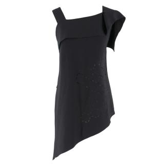 Roland Mouret Black Laser Cut Asymmetric Top