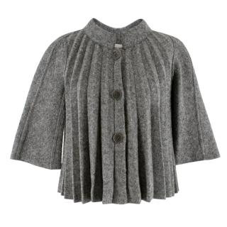 Emporio Armani Grey Wool-Blend Pleated Cape Jacket