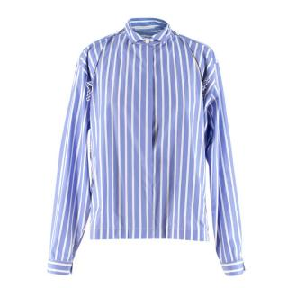 Ermanno Scervino Blue Pinstriped Wingtip-Collar Shirt