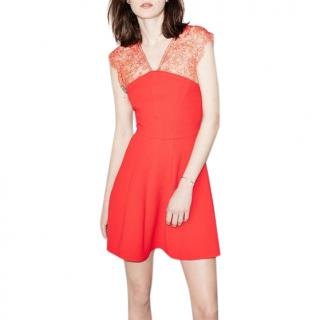 The Kooples lace-panel red A-line dress