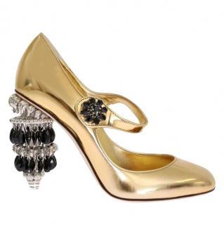 Dolce & Gabbana chandelier-heel gold Mary-Jane pumps