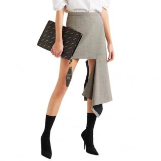Balenciaga asymmetric ripped-effect checked skirt