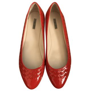 Bottega Veneta intrecciato patent leather flat pumps
