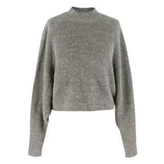Acne Grey High-Neck Alpaca Wool Sweater