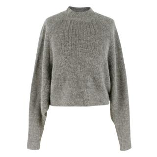 Acne Grey High-Neck Alpaca Wool Sweater