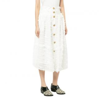 Rejina Pyo feather-effect button-down skirt
