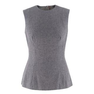 Ermanno Scervino Grey Wool Sleeveless Zip-Back Top